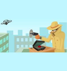 spy security horizontal banner cartoon style vector image