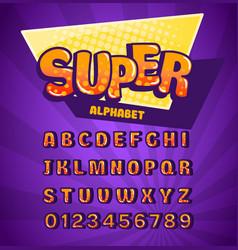 super alphabet funny font on purple background vector image