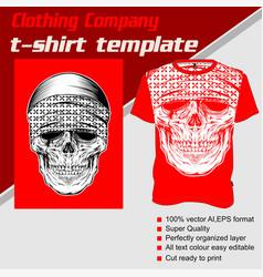 T-shirt template fully editable with skull bandana vector