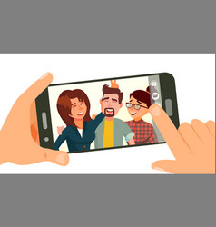 Taking photo on smartphone smiling friends vector
