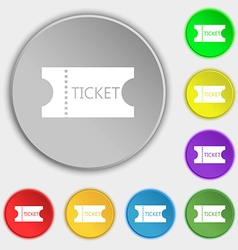 Ticket icon sign Symbols on eight flat buttons vector