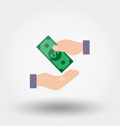 Transfer money from hand to hand vector