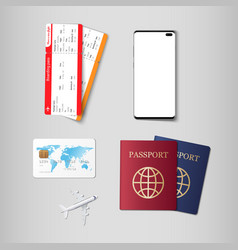 travel concept passport boarding pass credit vector image