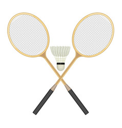 Two crossed badminton rackets and white vector