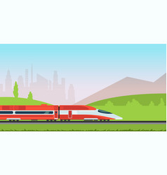 Underground metro train and urban cityscape vector