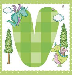 V alphabet letter for kids vector