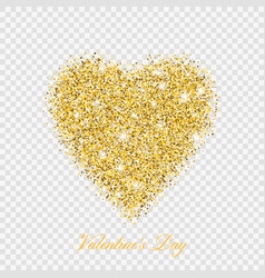 valentine day gold glitter shiny heart vector image