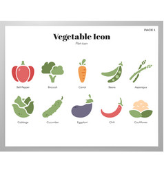 vegetable icons flat pack vector image