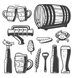 Vintage beer elements collection vector