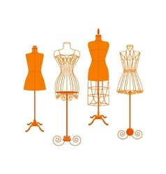 Vintage Mannequin or Dummies Color Set Flat vector image