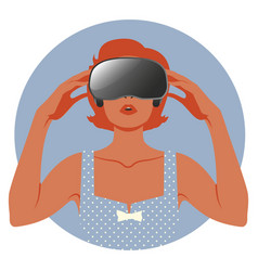 woman wearing virtual reality glasses-03 vector image