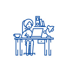 woman working on the office line icon concept vector image