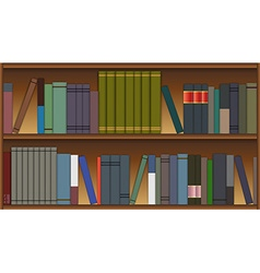 Wooden shelves with colorful books in flat style vector image