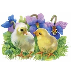 Yellow Watercolor chickens over garden flowers vector image