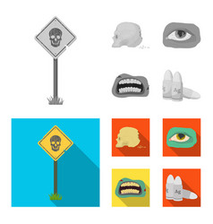 Zombies and attributes monochromeflat icons in vector