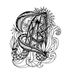 adult coloring page with a letter of the alphabet vector image
