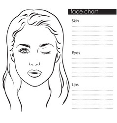 beautiful woman portrait face chart template vector image vector image