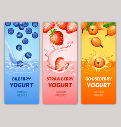 cartoon natural milky products vertical banners vector image