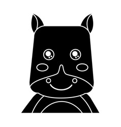 cute portrait hippo animal baby vector image