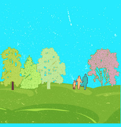 family with little baby walk on summer field vector image