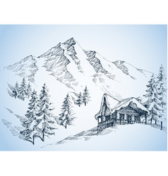 nature in the mountains sketch winter landscape vector image