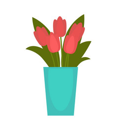 red flower in blue vase vector image