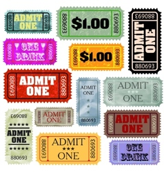 Tickets in different styles template set EPS 8 vector image
