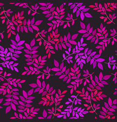 floral seamless pattern with purple leaves on dark vector image vector image