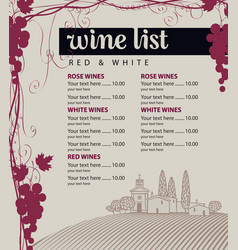 menu for wine list with grapes and landscape vector image vector image