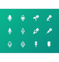 Microphone icons on green background vector image