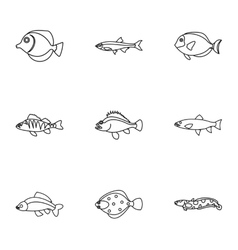 Ocean fish icons set outline style vector image vector image