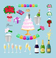 set wedding cake with couple newlyweds glasses vector image vector image