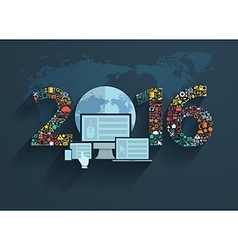 application icons with new year 2016 vector image