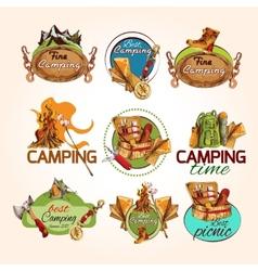 Camping sketch emblems vector image