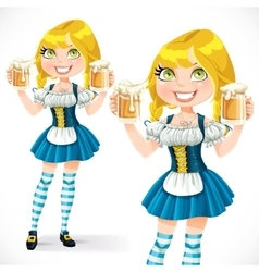 Pretty Blond girl with a glass of beer isolated on vector image