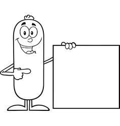 Sausage Cartoon Holding a Sign vector image