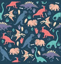 seamless pattern dinosaurs dark background cute vector image vector image