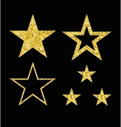 set of gold star on black vector image vector image