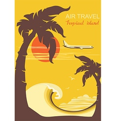 tropical paradise with palms island and aircraft vector image