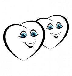 two cheerful heart vector image
