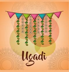 ugadi celebration garland flowers mandala vector image