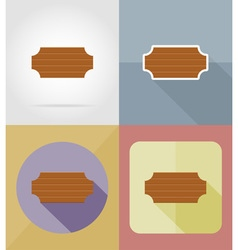 wooden board flat icons 16 vector image vector image