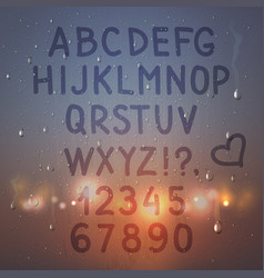 alphabet on misted glass composition vector image