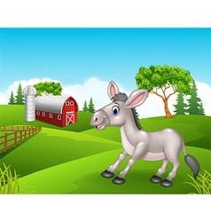 Cartoon funny donkey in the farm vector image vector image