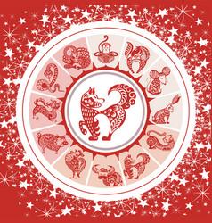chinese zodiac wheel with 12 animal symbols vector image