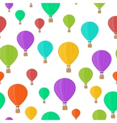 Flat colored aerostats on white seamless pattern vector image vector image