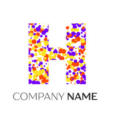 letter h logo with purple yellow red particles vector image vector image