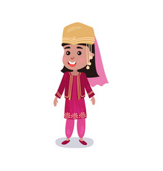 little girl wearing traditional costume of turkey vector image vector image