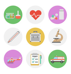 nine color flat icon set - medical vector image