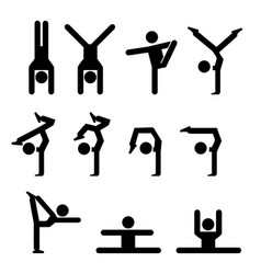 set of gymnastics icon in silhouette vector image